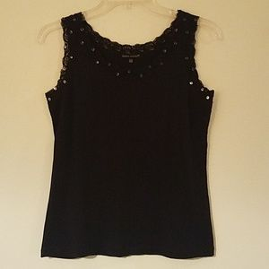 Black Sequin Lace Tank Top, Size M